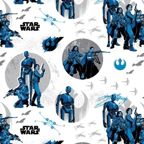 Star Wars Rogue One The Rebels White Movie Cotton Fabric