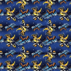 Transformers Hasbro Collection Bumble Bee Bumblebee Blue Cotton Fabric
