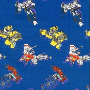 Transformers Galaxy In Action Optimus Megatron Blue Cotton Fabric