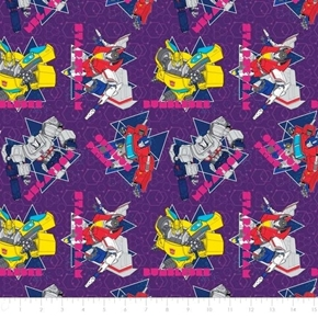 Transformers Galaxy Geo Optimus Starscream Purple Cotton Fabric