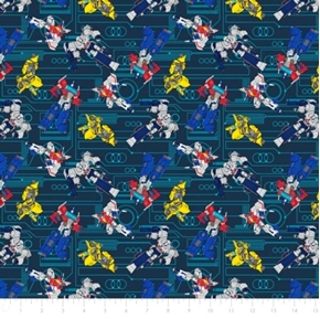 Transformers Galaxy Circuit Bumblebee Starscream Teal Cotton Fabric