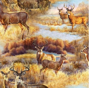 Deer Meadow Deer Scenic Bucks and Does in the Wild Cotton Fabric