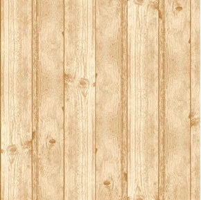 Deer Meadow Wood Texture Barnwood Wooden Planks Tan Cotton Fabric