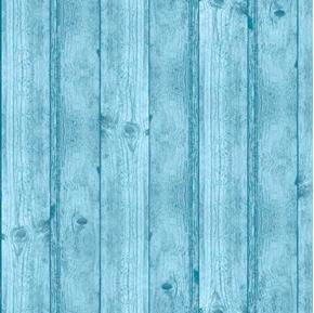 Deer Meadow Wood Texture Barnwood Wooden Planks Blue Cotton Fabric