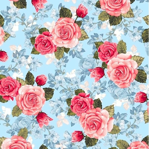 Rose Garden Rose Toile Pink Roses Blue Flower Background Cotton Fabric