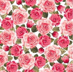 Rose Garden Packed Roses Pink Flowers Rosebuds on White Cotton Fabric