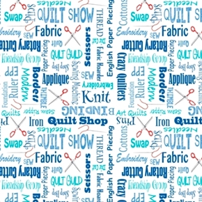Its a Shop Hop Quilters Lingo Swap Quilt Shop Blue Cotton Fabric