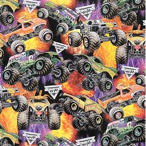Monster Jam Packed Monster Trucks Flames Earth Shaker Cotton Fabric