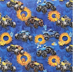 Monster Jam Monster Trucks Fire and Ice Zombie Blue Cotton Fabric