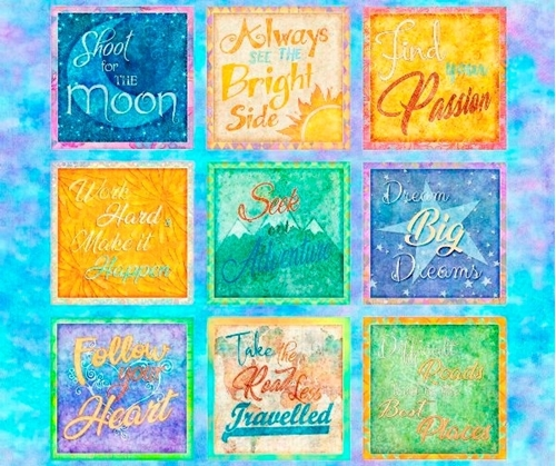 Dream Big Inspirational Quotes Follow Your Heart Cotton Fabric Panel