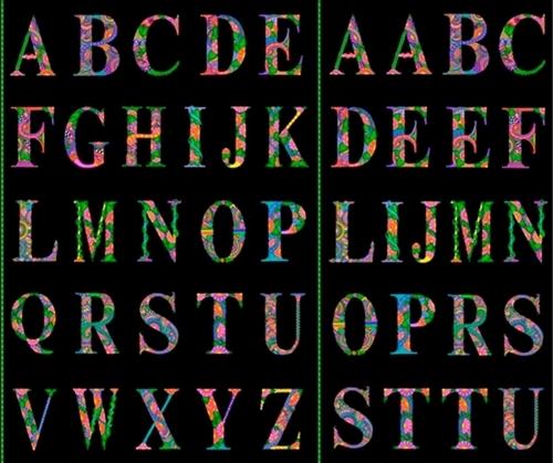 Alpha Doodle Alphabet Artistic Letters Black Large Cotton Fabric Panel
