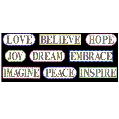 Alpha Doodle Inspirational Words Hope Dream 18x44 Cotton Fabric Panel