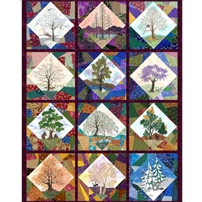 His Majesty the Tree Monthly Seasons Calendar Block 54x44 Fabric Panel