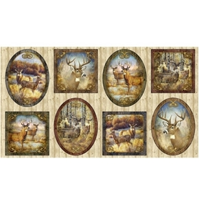 Deer Meadow Deer Vignette Framed Pictures 24x44 Cotton Fabric Panel