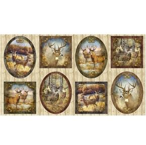 Deer Meadow Deer Vignette Framed Pictures 24x44 Cotton Fabric Panel