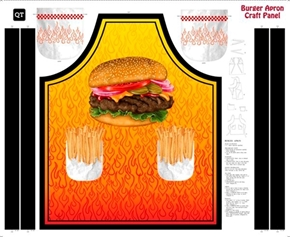 Sew and Go XI Burger and Fries BBQ Apron Cotton Fabric Craft Panel