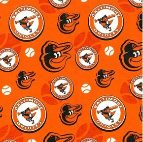 MLB Baseball Baltimore Orioles Cooperstown Orange Cotton Fabric