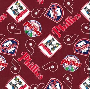 MLB Baseball Philadelphia Phillies Cooperstown Burgundy Cotton Fabric