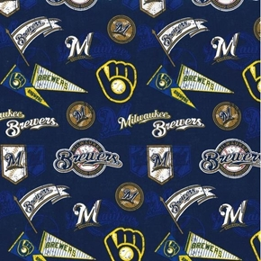 MLB Baseball Milwaukee Brewers Vintage Blue Cotton Fabric