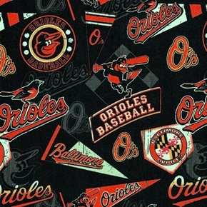 MLB Baseball Baltimore Orioles Vintage Distressed 18x29 Cotton Fabric