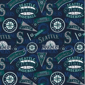 MLB Baseball Seattle Mariners Vintage Distressed 18x29 Cotton Fabric