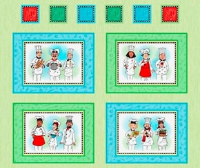 Chefs Special Picture Patches Culinary Chef Large Cotton Fabric Panel
