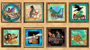 Fantasy and Fiction Steampunk Picture Patch 24X44 Cotton Fabric Panel