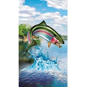 Artworks XV Trout Fish Fishing Stream 24x44 Digital Cotton Fabric