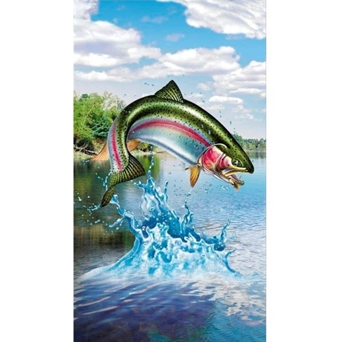 Artworks XV Trout Fish Fishing Stream 24x44 Digital Cotton Fabric