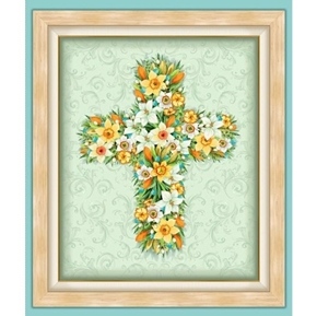 Easter Parade Floral Cross Spring Flower Religious Cotton Fabric Panel
