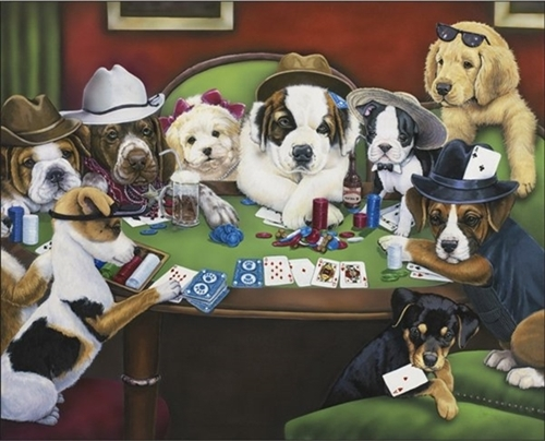 Calling Your Bruff Dogs Playing Poker 9 Pups Large Cotton Fabric Panel