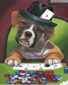 Calling Your Bruff Dog Playing Poker One Dog Large Cotton Fabric Panel
