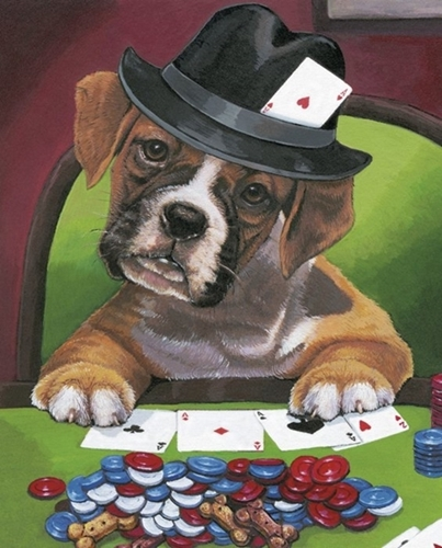 Calling Your Bruff Dog Playing Poker One Dog Large Cotton Fabric Panel