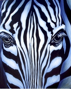 Picture of Zebra Portrait Digitally Printed Large Zebra Head Cotton Fabric Panel