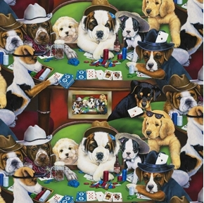 Calling Your Bruff Dogs Playing Poker Card Playing Dog Cotton Fabric