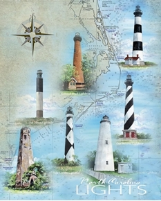 North Carolina Lights Lighthouses Currituck Bodie Cotton Fabric Panel