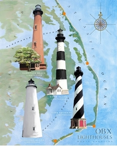 Outer Banks Lighthouses Hatteras Okracoke Bodie Cotton Fabric Panel
