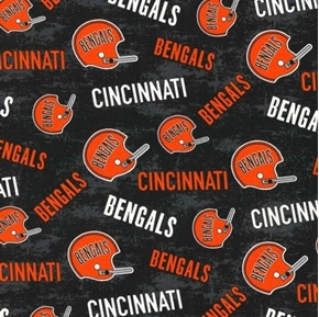 NFL Football Cincinnati Bengals Legacy Black Cotton Fabric