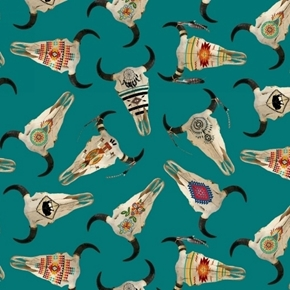 Tucson Southwest Aztec Cattle Skulls Decorated Turquoise Cotton Fabric