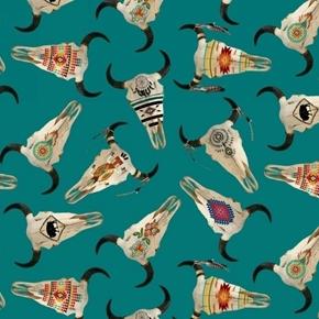 Tucson Southwest Aztec Cattle Skulls Decorated Turquoise Cotton Fabric