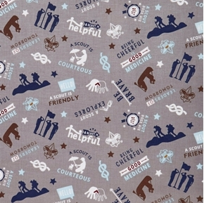 A Scout is Brave Courteous Helpful Boy Scouts Gray Cotton Fabric