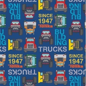 Tonka Blocks Tonka Building Trucks Since 1947 Blue Truck Cotton Fabric