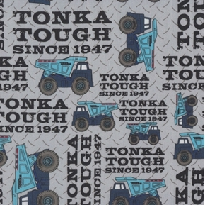 Tonka Tough Tonka Trucks Since 1947 Gray Toy Truck Cotton Fabric