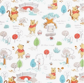 Disney Pooh Everyday Winnie the Pooh's House White Cotton Fabric