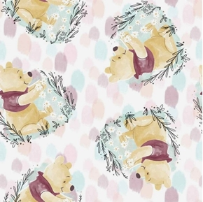 Disney Pooh Everyday Winnie the Pooh Toss Flowers White Cotton Fabric
