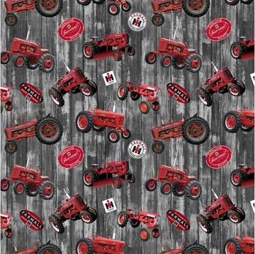 Farmall Hometown Life Tossed Tractors on Gray Barnwood Cotton Fabric