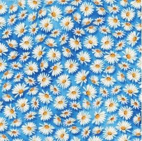 Vibrant Garden Daisy Flowers Flower Heads Daisies Blue Cotton Fabric