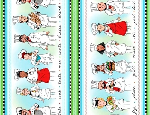 Chef's Special Chefs Character Stripe Cooks Culinary Cotton Fabric