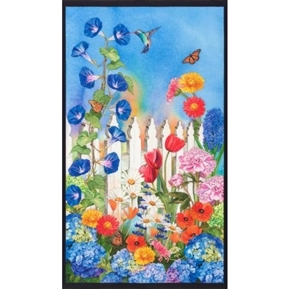 Vibrant Garden Hummingbird Flower Garden Fabric Panel