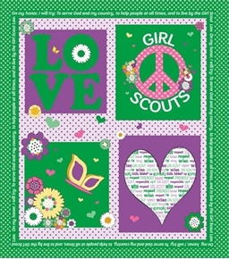 Girl Scout Promise Peace Love Purple Green Scouts Cotton Fabric Panel